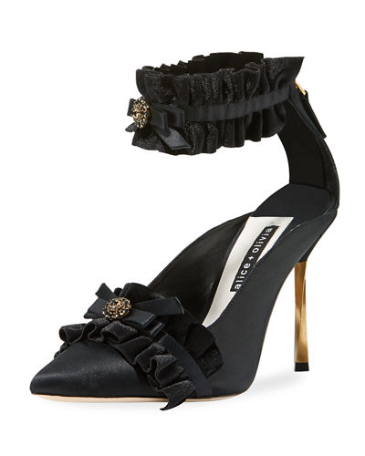 Alfray Satin Ruffled Ankle-Strap Pump