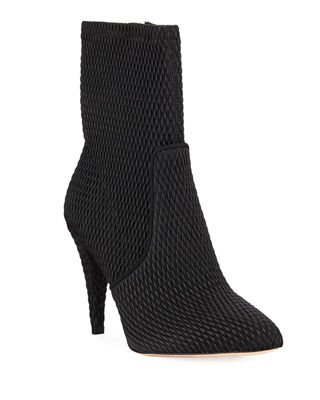 Hedde Stretch Pleather Booties in Black