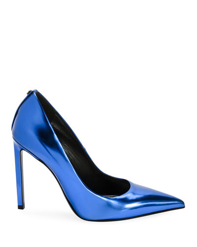 Mirror Calf Leather Point-Toe Pump