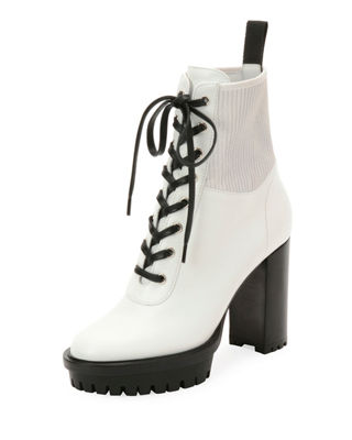 Martis Leather & Vinyl Ankle Boots - White Size 8