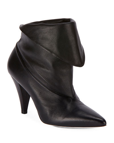 Show Leather Folded Cone-Heel Ankle Boots
