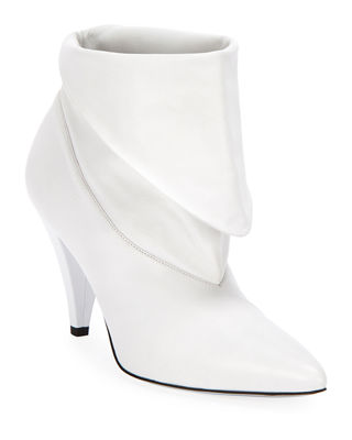 Show Leather Folded Cone-Heel Ankle Boots, White