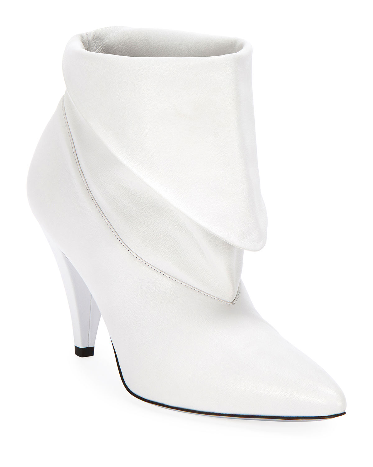 8719898ffb05 Givenchy Show Leather Folded Cone-Heel Ankle Boots