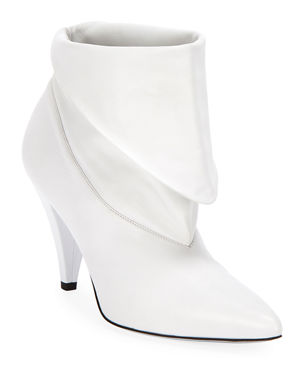 f3944c6ae2a Givenchy Show Leather Folded Cone-Heel Ankle Boots
