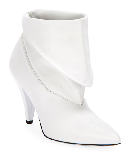 Givenchy Show Leather Folded Cone-Heel Ankle Boots In White ... ad24d8761