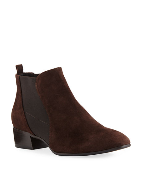 Aquatalia Falco Suede Gored Chelsea Booties