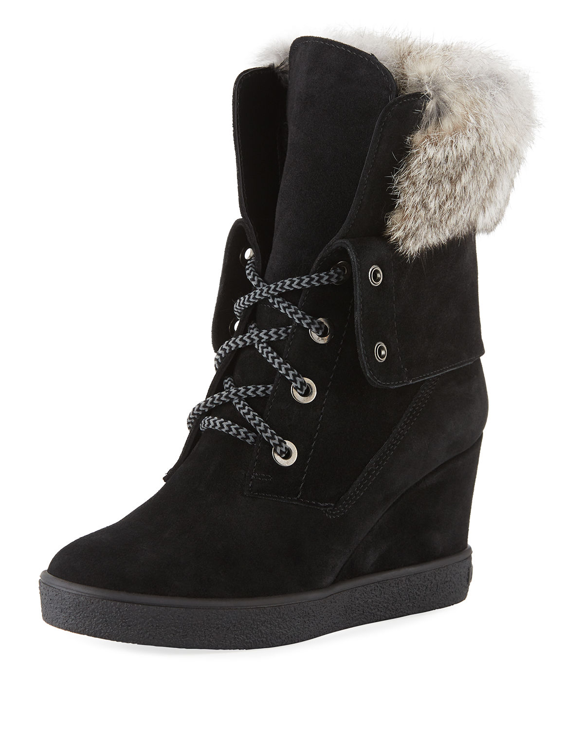 7a1d558ffef Aquatalia Cordelia High Wedge Boots w  Fur Trim