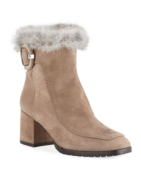 Aquatalia Boots CHARLIZE SUEDE BOOTIES WITH FUR TRIM