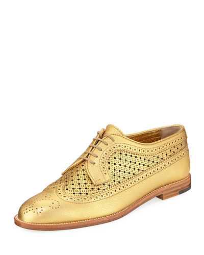 Perforated Leather Lace-Up Oxford