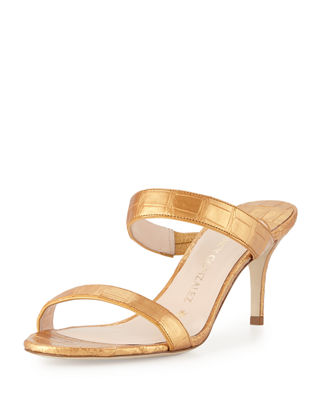 Nancy Gonzalez Maria Crocodile 70mm Slide Sandals