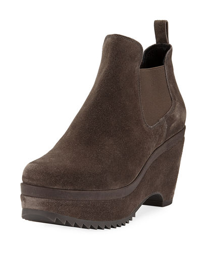 Faustine Suede Wedge Booties
