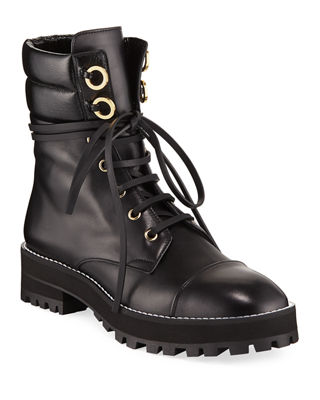 Women'S Lexy Round Toe Leather Lace Up Boots, Black