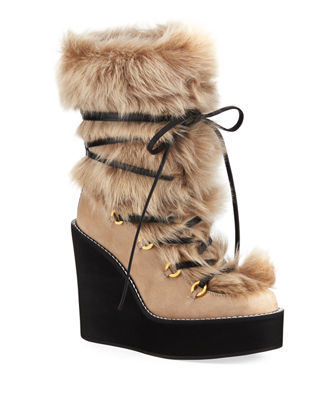 Women'S Nikita Round Toe Suede & Fur Wedge Boots, Brownstone