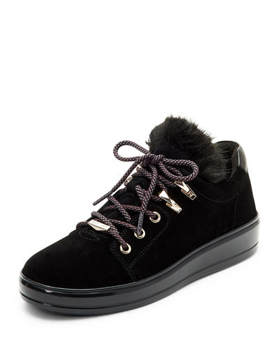 Georgy Suede Low-Top Sneakers with Faux Fur
