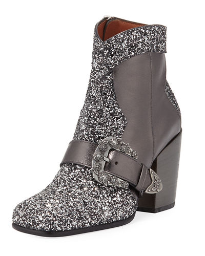 Runway Buckle Glitter Booties