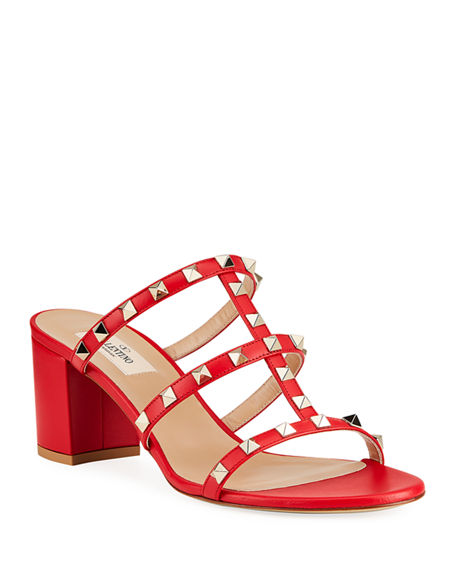 Valentino Garavani Rockstud Caged 60mm Slide Sandals