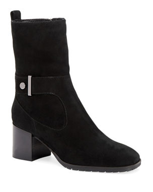 a80461b5fd6 Aquatalia Collette Suede Block-Heel Booties with Strap Detail