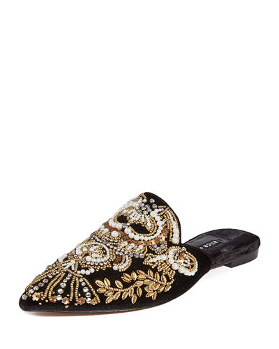 Urtin Embroidered Velvet Mules
