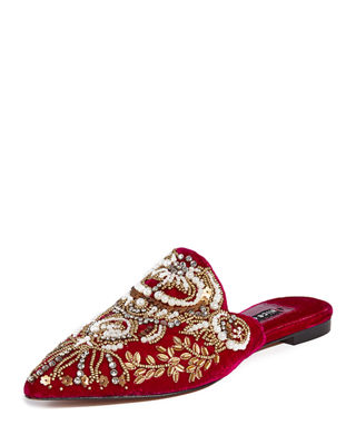 Urtin Embroidered Velvet Mules in Currant