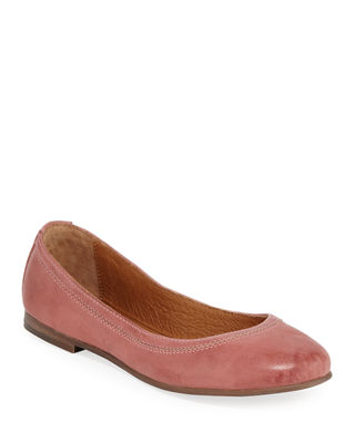 Carson Leather Ballet Flats, Salmon Leather