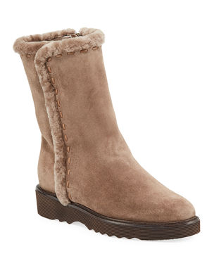 f368592243ec Aquatalia Kalena Fur-Lined Suede Booties