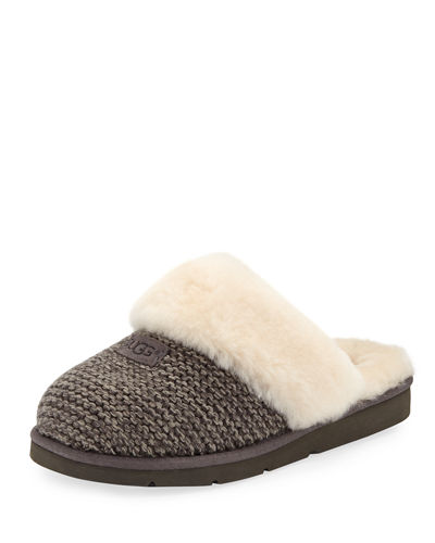 Cozy Knit Slippers with Sheepskin
