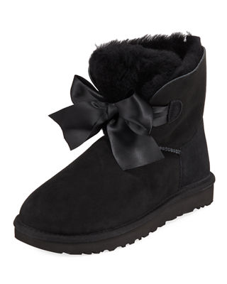 Gita Bow Mini Boots in Black