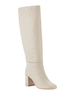 Brooke Slouchy Leather Block-Heel Knee Boots, Dust Storm