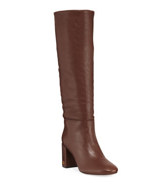 Brooke Slouchy Leather Block-Heel Knee Boots, Perfect Brown