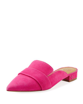 Tory Burch Rosalind Pointed-Toe Suede Mules