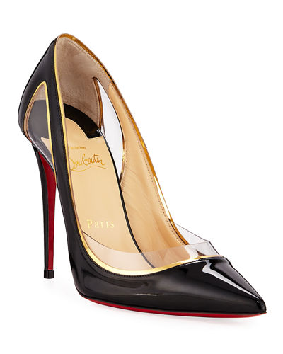 Cosmo 554 Patent/Vinyl High-Heel Red Sole Pumps