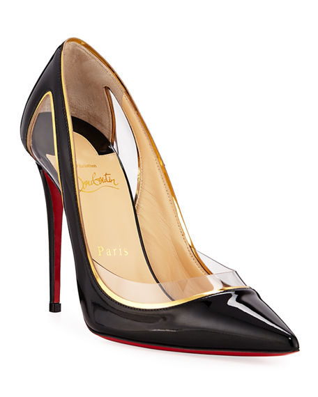 finest selection d5963 caee4 Cosmo 554 Patent/Vinyl High-Heel Red Sole Pumps