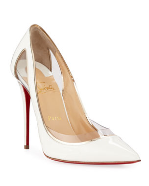 2a0998e59fe2f Christian Louboutin Cosmo 554 Patent Vinyl High-Heel Red Sole Pumps