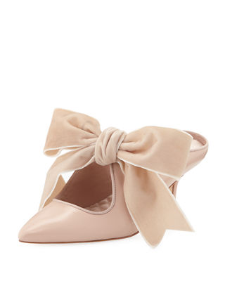 Clara Leather Mules With Velvet Bow, Goan Sand