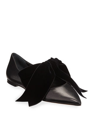 Clara Ballet Flats With Large Velvet Bow, Perfect Black