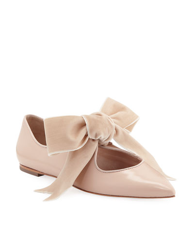 Clara Ballet Flats with Large Velvet Bow