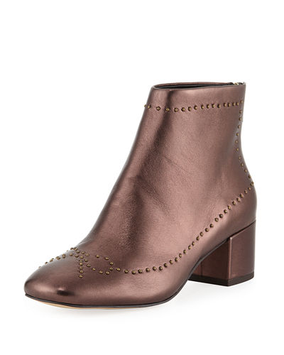 Cafne Bow Studded Metallic Leather Booties