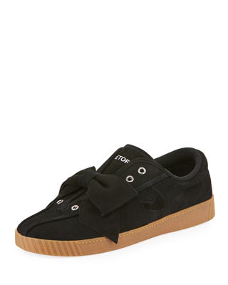 Nylite Silky Suede Lace-Up Sneakers W/ Bow, Black