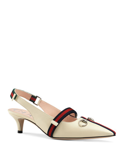 Horsebit Leather Slingback Pumps