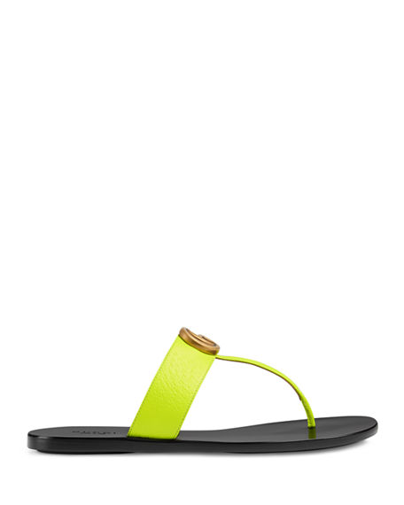 45bc9817d06e Gucci Flat Neon Leather Thong Sandals