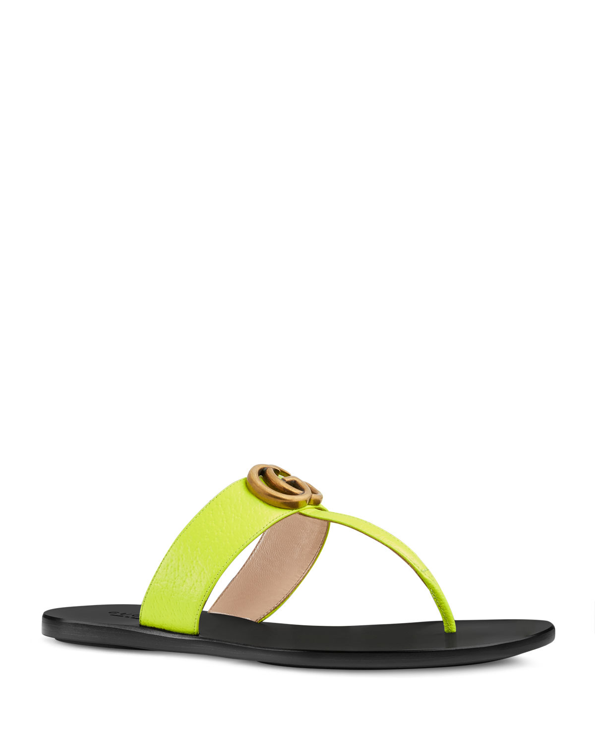 Flat Neon Leather Thong Sandals
