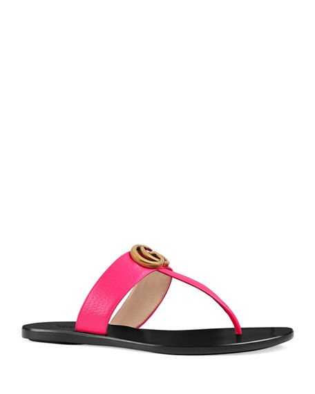 4e41e8503 Gucci Women's Marmont Leather Thong Sandals In Pink | ModeSens
