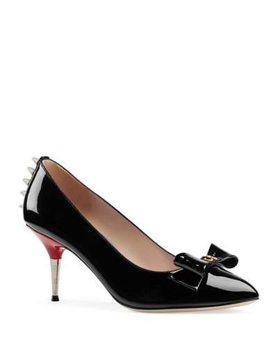 Patent Leather Spiked Pumps