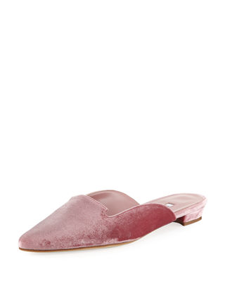 Manolo Blahnik Ruby Velvet Pointed-Toe Mule Flat