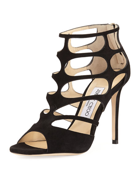 Jimmy Choo Suede Caged Sandals Cheap Sale Lowest Price Classic Online Outlet View BmF1R
