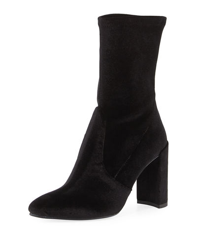 Clinger Stretch-Velvet Mid-Calf Boots