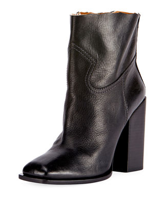 Saint Laurent Raw-Edge Leather Block-Heel Boot