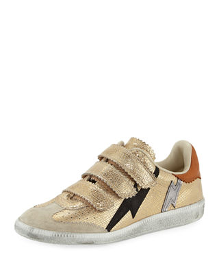 Isabel Marant Beth Metallic Lightning Bolt Sneakers