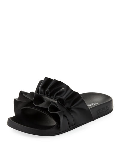 Bella Ruffled Leather Sport Slide Sandal