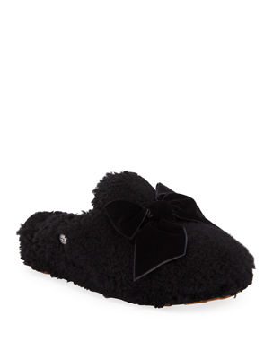 23b8e44f776 UGG Addison Velvet-Bow Curly Sheepskin Slippers